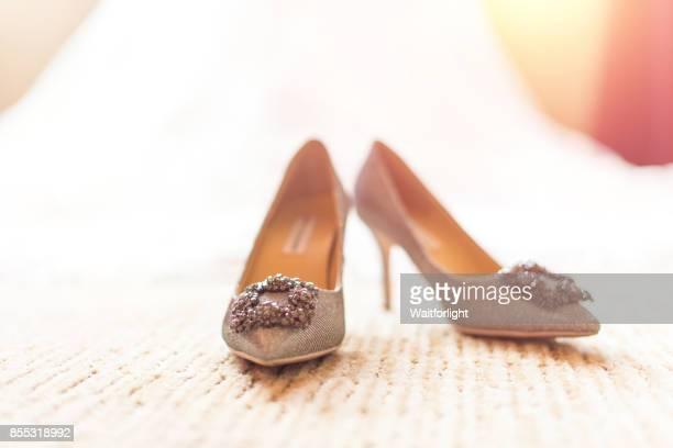 Wedding shoes on floor