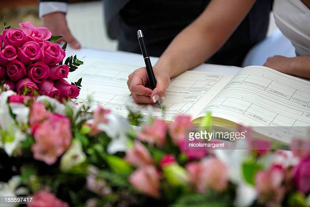 wedding:  signing the register - register stock photos and pictures