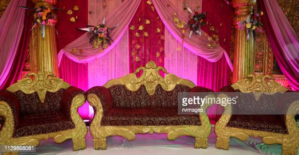 wedding stage for couples - banquet hall stock pictures, royalty-free photos & images