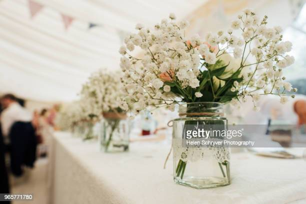 wedding table centrepiece - wedding reception stock photos and pictures