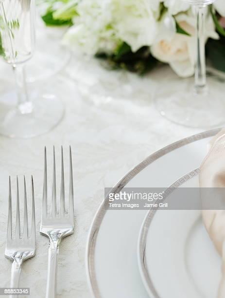 Wedding table setting, studio shot