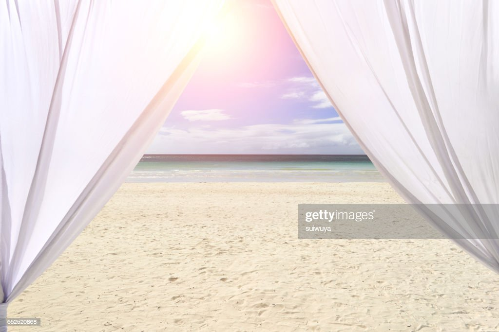 Wedding Tent At Beach High Res Stock