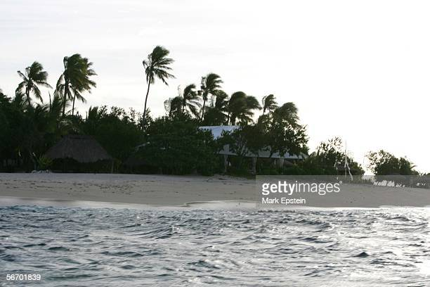 Wedding tents are set up in case of rain on the island of Tavarua January 12 2006 in Fiji