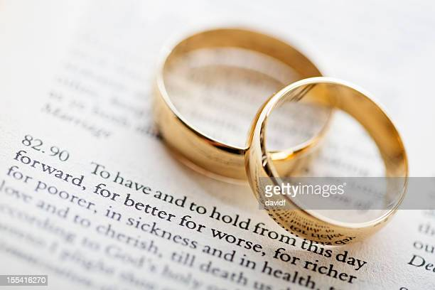 wedding vows and rings - wedding vows stock pictures, royalty-free photos & images
