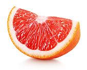 wedge of pink grapefruit citrus fruit isolated on white