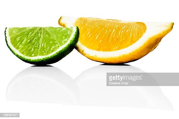 Wedges of lime and lemon