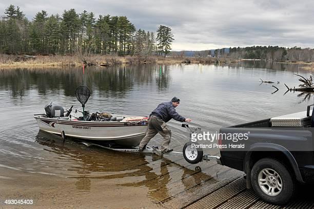 Wednesday April 10 2013S=Sebago Lake public boat launch sites Dan Hillier of Naples prepares to take out his boat at the boat launch at Sebago Lake...