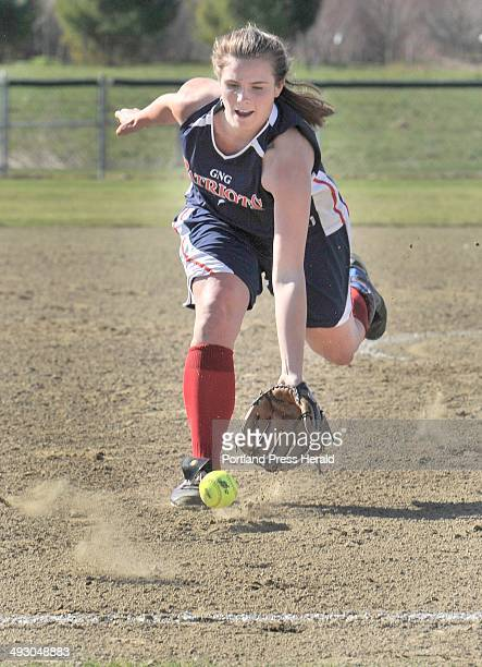 Wednesday April 24 2013S=Greely vs GrayNew Gloucester softball at Greely GNG pitcher Maria Valenti tries come up with an infield hit in the first...