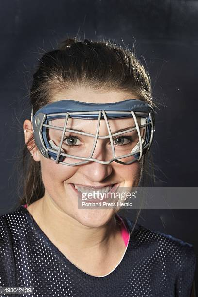 Wednesday March 28 2012 Westbrook field hockey players Emily Blackmore and Tori Winton wear two types of required eye protection for field hockey...