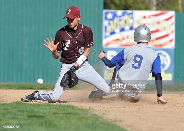 Wednesday May 1 2013S=Freeport vs Old Orchard Beach baseball game played at The Ballpark in OOB Freeport shortstop Dan Burke takes a late thow as...