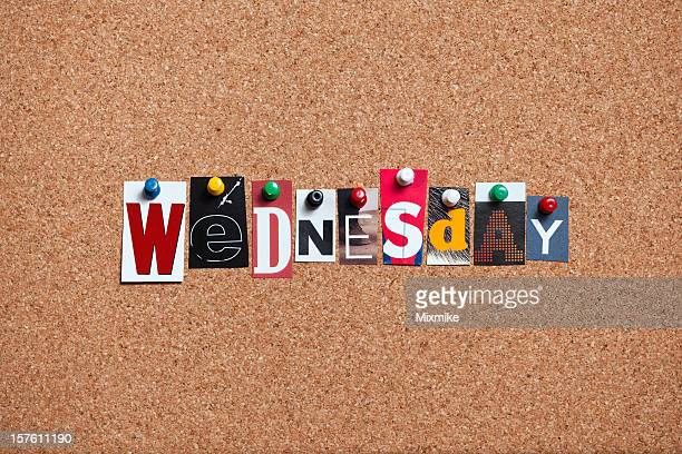 wednesday pinned on bulletin cork board - weekday stock pictures, royalty-free photos & images