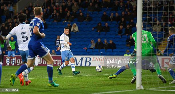 Wednesday striker Daniel Pudil shoots to score the first Sheffield goal during the Sky Bet Championship match between Cardiff City and Sheffield...