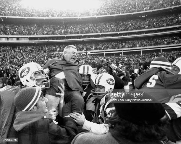 Weeb Ewbank coach of the New York Jets got the biggest lift of his 21year coaching career when he was hoisted into the air by his jubilant Jets after...