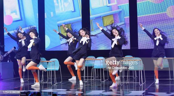 Weeekly during Weeekly's First Mini Album Debut Showcase at Shinhan FAN Square on June 30, 2020 in Seoul, South Korea.