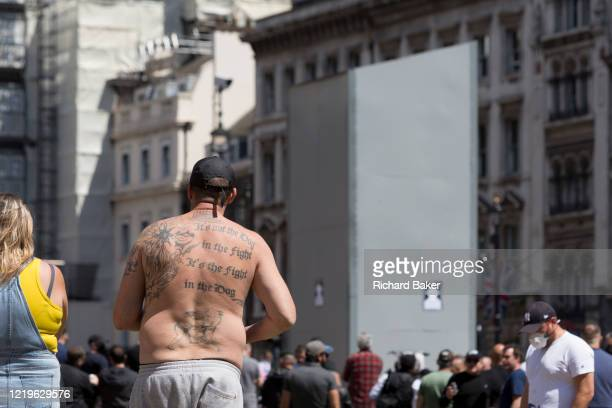 Week after a Black Lives Matter protest turned to violence when the statue of wartime Prime Minister Sir Winston Churchill was daubed in graffiti...