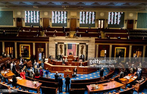 Week after the insurrection of the U.S. Capitol, with Speaker of the House Nancy Pelosi presiding the House of Representatives votes to impeach...