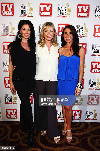 TV Week Gold Logie Nominees for Most Popular Personality on TV Simmone Jade Mackinnon Rebecca Gibney and Kate Ritchie pose during the nominations...