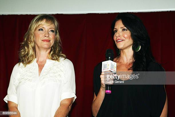 Week Silver Logie Nominees for Most Popular Actress on TV Rebecca Gibney and Simmone Jade Mackinnon talk onstage during the nominations announcement...