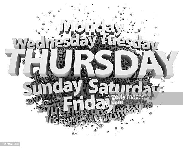 weekdays concept - thursday - tuesday stock pictures, royalty-free photos & images