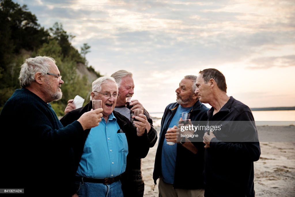 Week-end Activities between senior brothers : Stock Photo