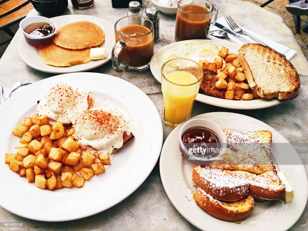 Weekend brunch served on the table, side view : Stock Photo