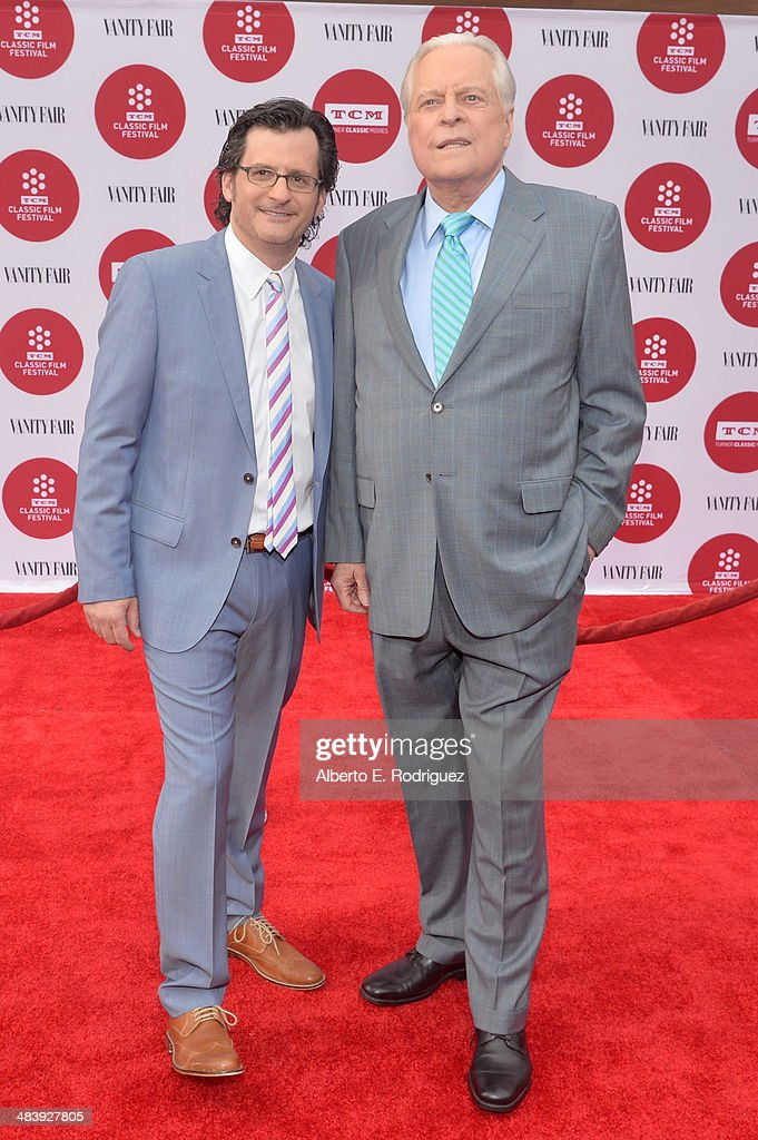 weekend daytime host of Turner Classic Movies, Ben Mankiewicz and actor Robert Osborne (R) attend the opening night gala screening of 'Oklahoma!' during the 2014 TCM Classic Film Festival at TCL Chinese Theatre on April 10, 2014 in Los Angeles, California.