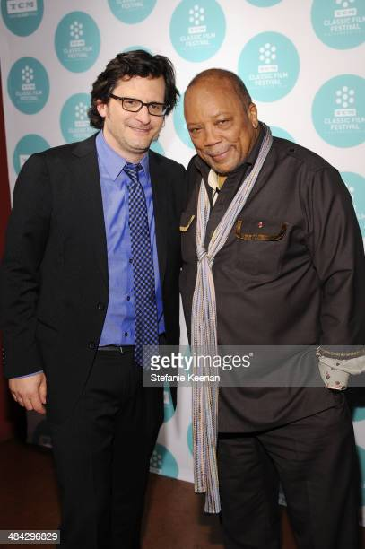 Weekend daytime host of Turner Classic Movies Ben Mankiewicz and music producer Quincy Jones attend The Italian Job Screening during the 2014 TCM...