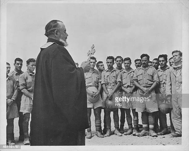 Weekly church service held for the Greek Army during World War Two, circa 1939-1945.