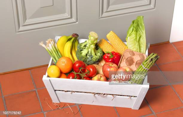 weekly delivery of healthy fruit and vegetables - routine stock pictures, royalty-free photos & images