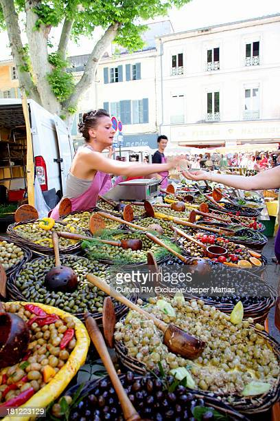 Weekly Food market in Saint-Remy-de-Provence, Provence-Alpes-Cote d'Azur, France