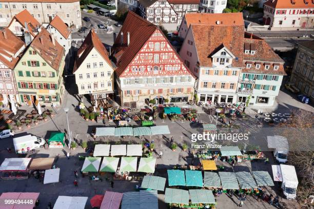 Weekly market market in the town square of Esslingen, Baden Wuerttemberg, Germany