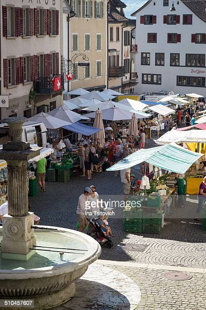 Weekly market on the main square of Rapperswil