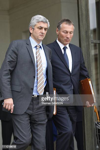 Weekly Ministers Council at the Elysee Palace in Paris France on May 06th 2009 Defence Minister Herve Morin and JeanMarie Bockel State Secretary in...