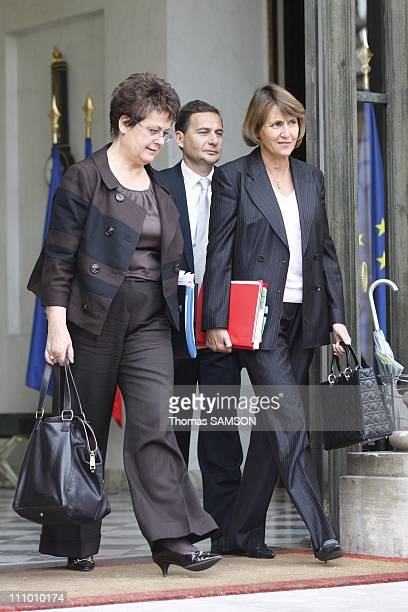 Weekly Ministers' Council at the Elysee Palace in Paris France on October 22nd 2008 Christine Boutin minister for Housing and Urban Affairs Christine...