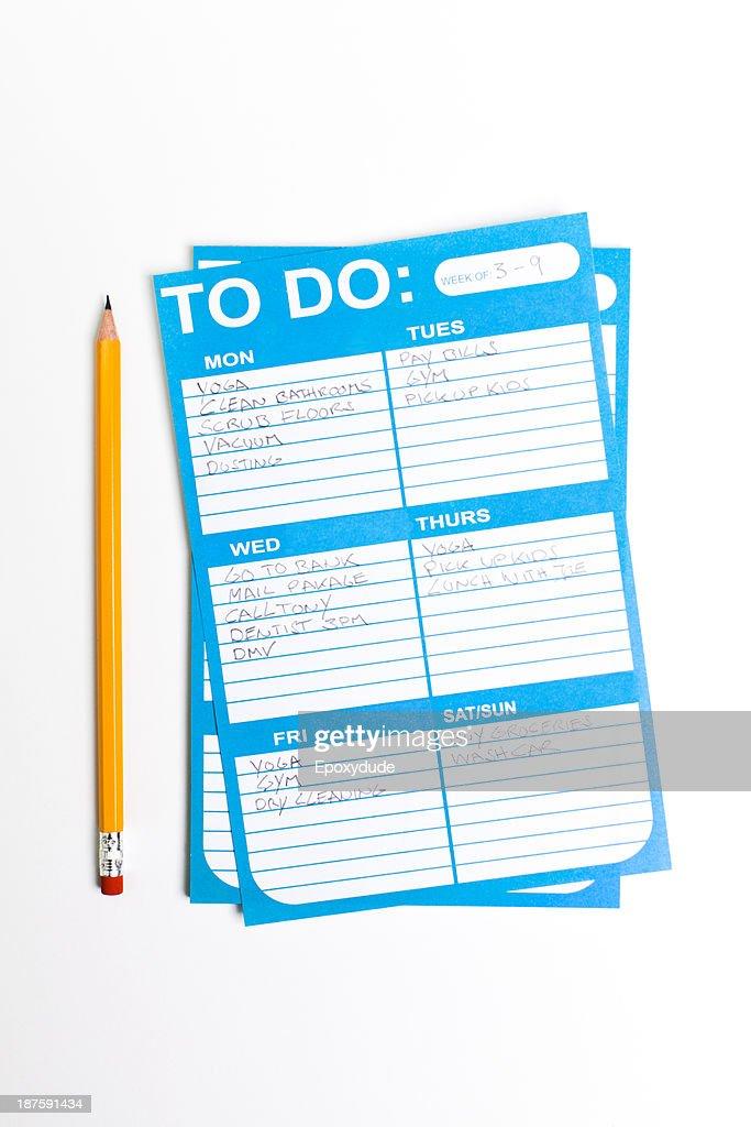 A weekly To Do list filled in with various chores and tasks : Stock Photo