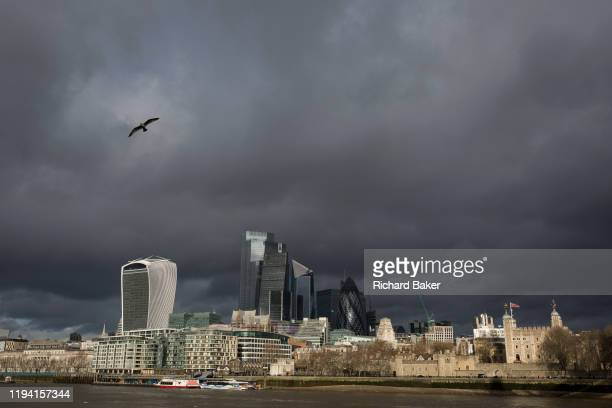 Weeks before the UK's Brexit from the European Union , a wide cityscape of the Tower of London and the City of London, the capital's financial...
