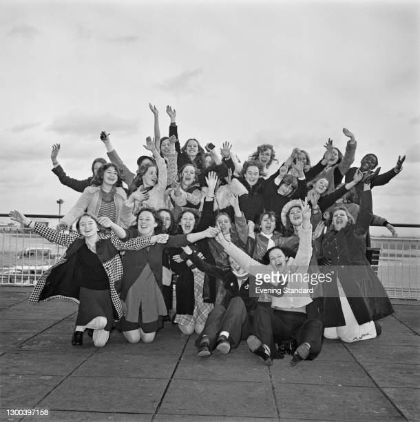 'Weeney Boppers', fans of American music group the Osmonds, waiting for their idols at Heathrow Airport in London, UK, November 1972.
