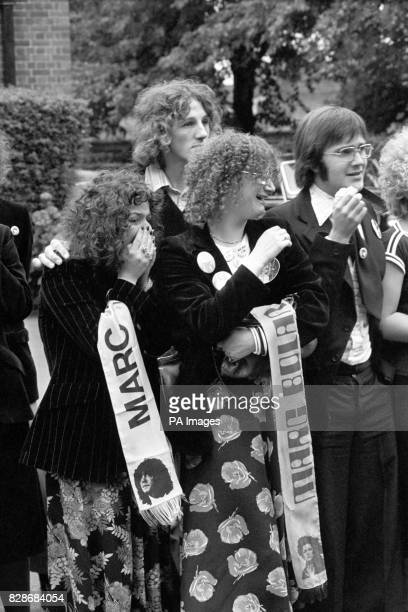 Weeping fans at the funeral at Golders Green crematorium in North London of Marc Bolan who died in a car crash.