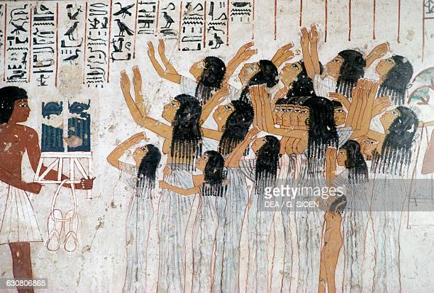 Weeping women in the funeral procession fresco of the Tomb of Ramose 1370 BC Theban Necropolis Egypt Egyptian civilisation Dynasty XVIII