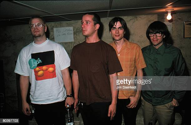 Weezer Drums Patrick Wilson bass Matt Sharp guitar Brian Bell vocals/guitar Rivers Cuomo pose for a portrait backstage in the basement of the 400 Bar...