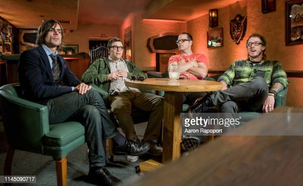 Weezer members during interview at Hollywood Motel in Los Angeles California