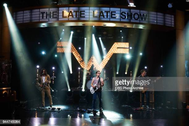 Weezer performs during The Late Late Show with James Corden Monday April 9 2018 On The CBS Television Network