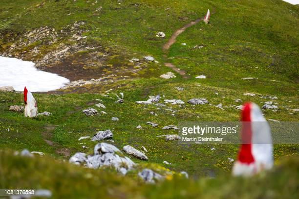wegweiser steine am geotrail im  nationalpark hohe tauern - トレイル表示 ストックフォトと画像