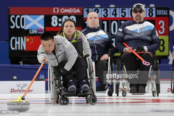 Wei Liu from China delivers a stone during the World Wheelchair Curling Championship 2017 - test event for PyeongChang 2018 Winter Olympic Games at...