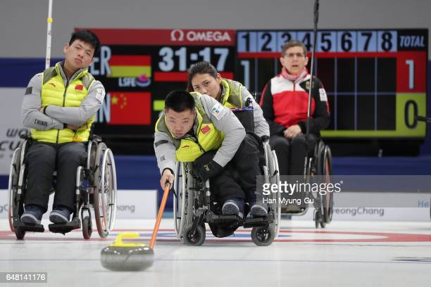 Wei Liu from China delivers a stone during the World Wheelchair Curling Championship 2017 test event for PyeongChang 2018 Winter Olympic Games at...