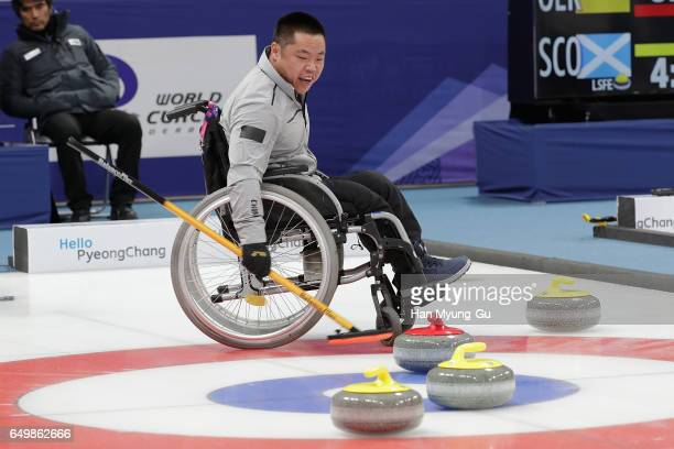 Wei Liu from China reacts during the World Wheelchair Curling Championship 2017 test event for PyeongChang 2018 Winter Olympic Games at Gangneung...