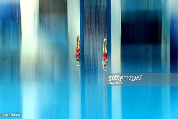 Wei Lu and Jiaqi Zhang of China compete in the Women's 10m Synchro Platform Final on day three of the Gwangju 2019 FINA World Championships at Nambu...