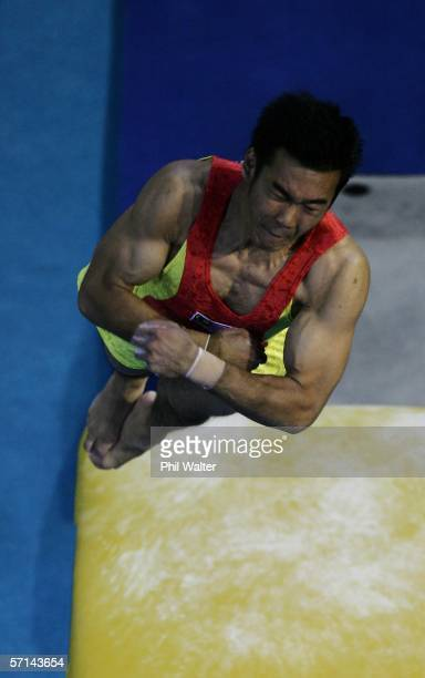 Wei Siang Ooi of Malaysia competes in the Men's Vault Final in the artistic gymnastics at the Rod Laver Arena during day six of the Melbourne 2006...
