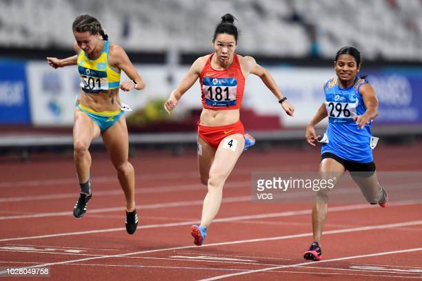 Wei Yongli of China competes in Women's Athletics 200m Final on day eleven of the 2018 Asian Games on August 28 2018 in Jakarta Indonesia