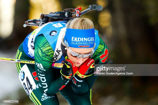Weidel Anna in action during the IBU Biathlon World Cup Women's Sprint on December 8 2018 in Pokljuka Slovenia